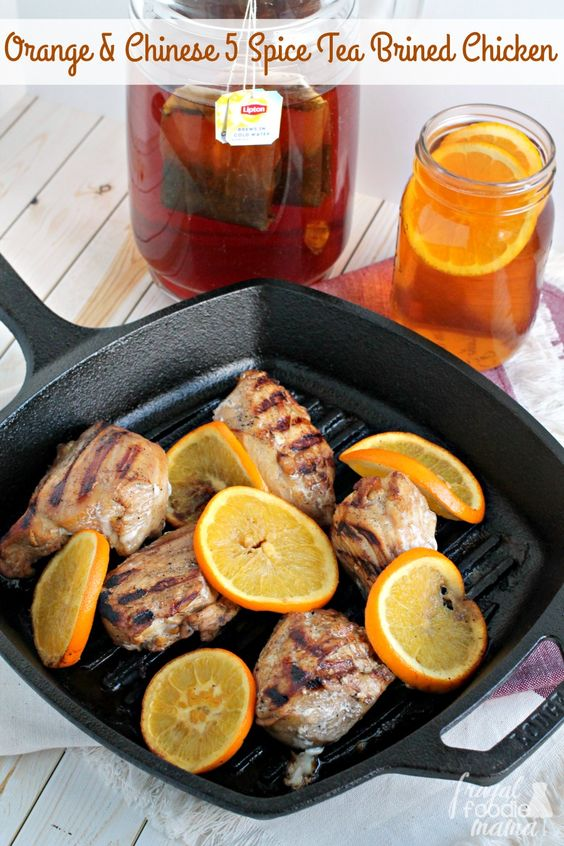 A southern favorite gets a citrus spiced twist perfect for wintertime in this flavorful Orange & Chinese Five Spice Tea Brined Chicken. #BrightBites #adug