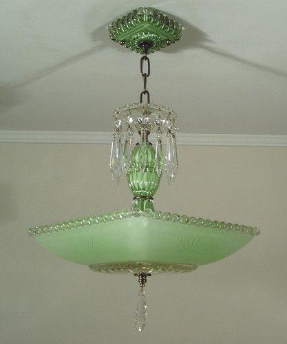 Vintage 30s Jadite Green Art Deco Square Glass Ceiling ...