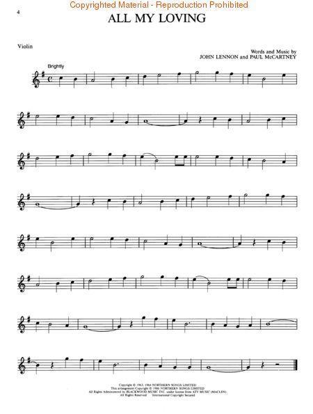 All My Loving The Beatles Violin Sheet Music Violin Sheet Music Sheet Music Clarinet Music
