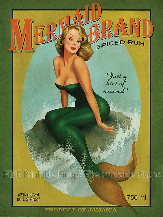 "Vintage Pinup Art Girl // Aged Mermaid Rum Ad Poster // 36""x27"" Printable Digital Download // Easy to Size Down"