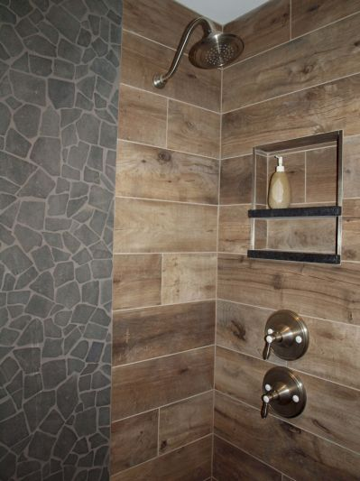 Wood Look Tile On Walls Normandy With Images Wood Tile Shower Wood Tile Bathroom Wood Wall Tiles
