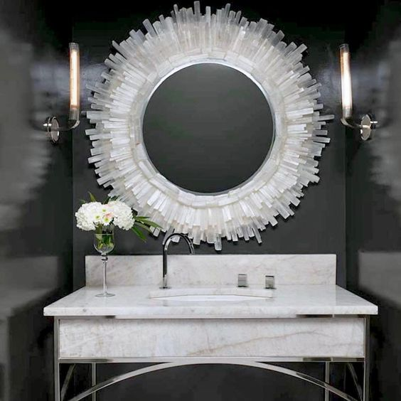 "Nate Ricketts Design on Instagram: ""Selenite Crystal Mirror popping nicely against the dark wall in this vanity by Ventura Custom Homes. Thanks @Micky_klein_interiors for the…"""