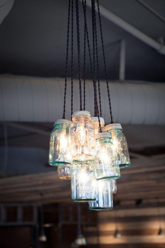 Rustic chandelier - Mason jars