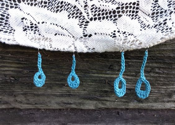 Teardrop Earrings- Product for sale PLUS free crochet pattern available. Dangle teal crochet thread earrings.