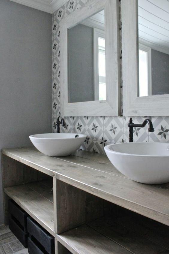 meuble salle bain teck vasque rectangulaire grise. meuble ...
