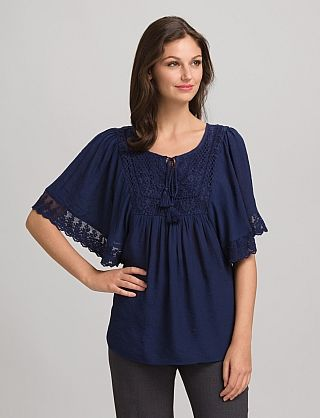 Crochet Lace Textured Top | Dressbarn