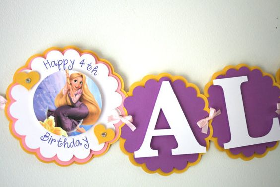 Tangled Inspired Birthday Banner  Rapunzel by treelittlebirdz