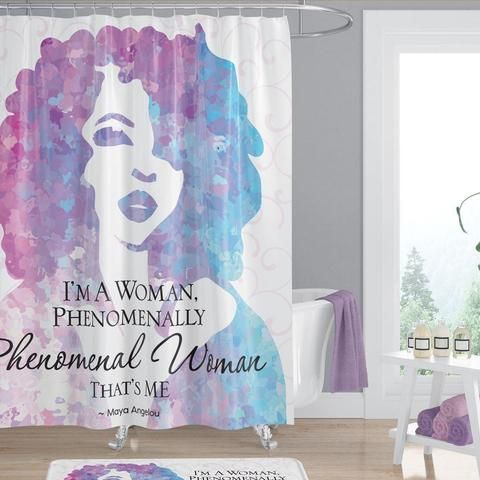 Phenomenal Woman African American Shower Curtain By Maya Angelou 71x71 Inches African Shower Curtain Phenomenal Woman Functional Artwork