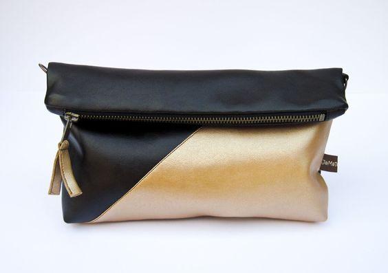 """2 in 1: Clutch und kleine Umhängetasche """"goldig"""" von JaMaTa - handgemachte Accessoires und Röcke auf DaWanda.com"""