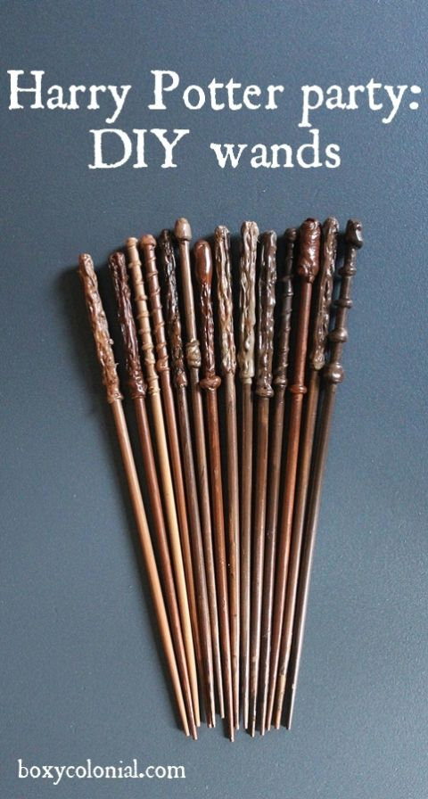 Tutorial to make these diy wands for your Harry Potter party