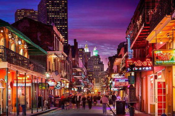 Bourbon Street New Orleans at twilight