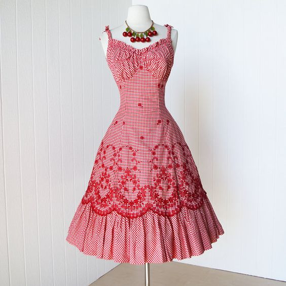 vintage 1950&-39-s dress ...never worn ALIX of MIAMI red gingham ...