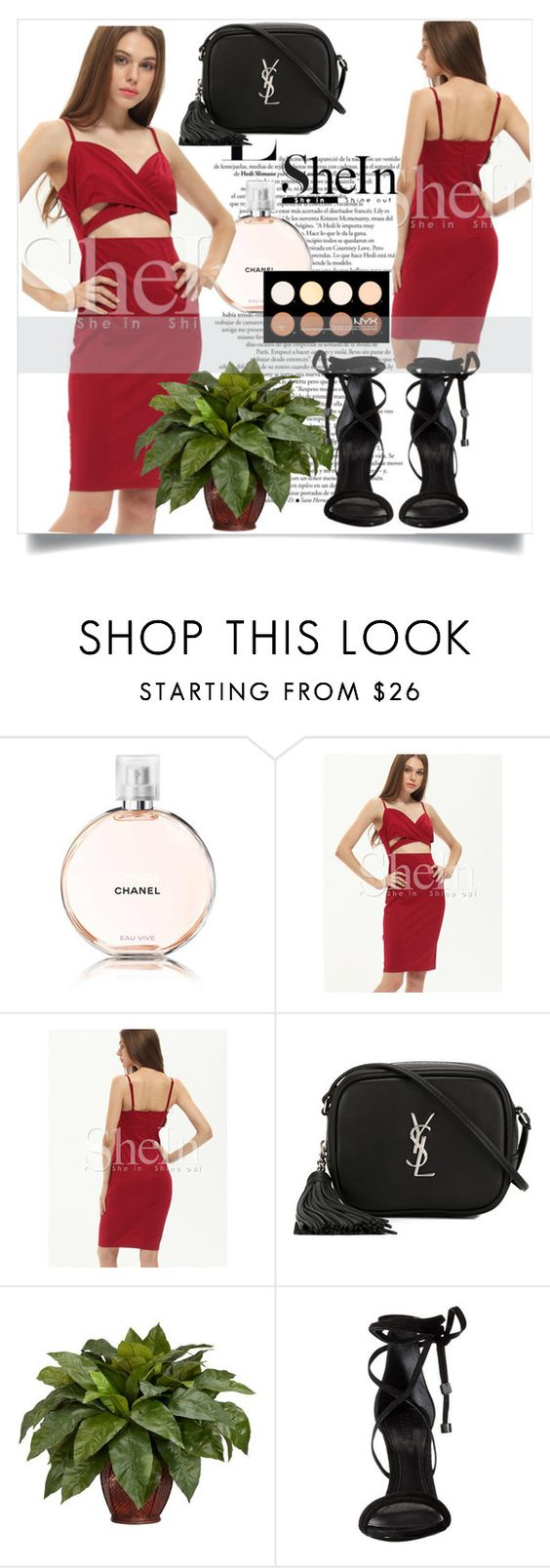 """Sheinside !!"" by annagrigoryan94 ❤ liked on Polyvore featuring Chanel, Yves Saint Laurent, Nearly Natural, Schutz and NYX"
