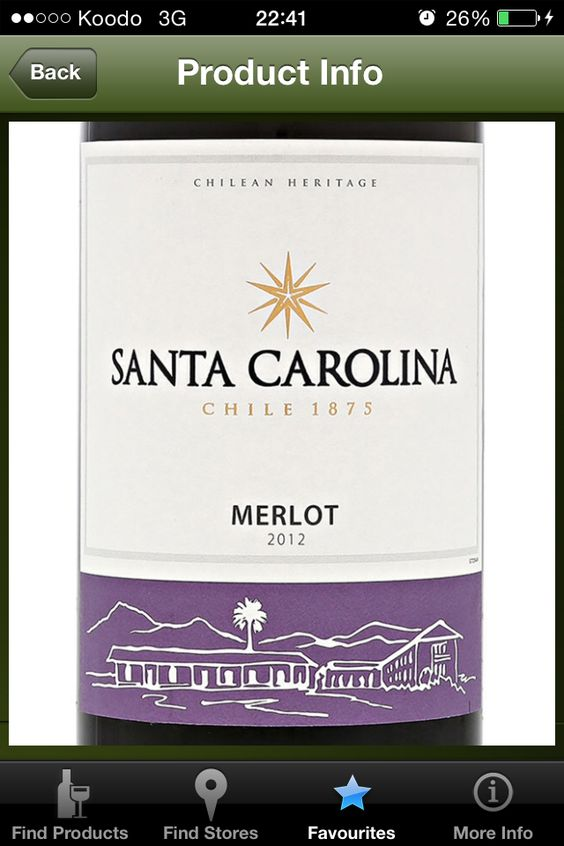 2012 Santa Carolina Merlot (Chile) - $8.95 750 mL (LCBO # 361741)