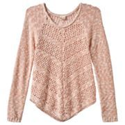 Girls 7-16 & Plus Size Mudd® Open-Work Shirttail Sweater
