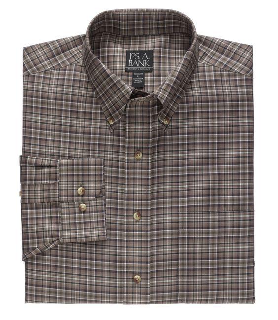 Long Sleeve Traveler Medium Plaid Buttondown Sportshirt