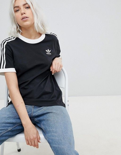 adidas Originals adicolor three stripe t shirt in black