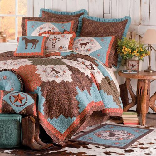 Cowgirl bedding set cabin bedding and western bedding for Horse bedroom ideas
