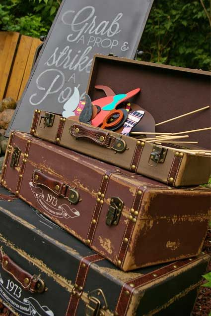 vintage trunks for photo booth props: