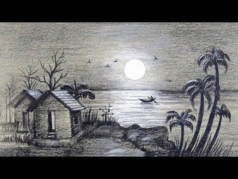 How To Draw A Moonlit Night With Simple Colored Pencils Easy And Simple Steps Youtube Landscape Pencil Drawings Pencil Art Drawings Landscape Drawings