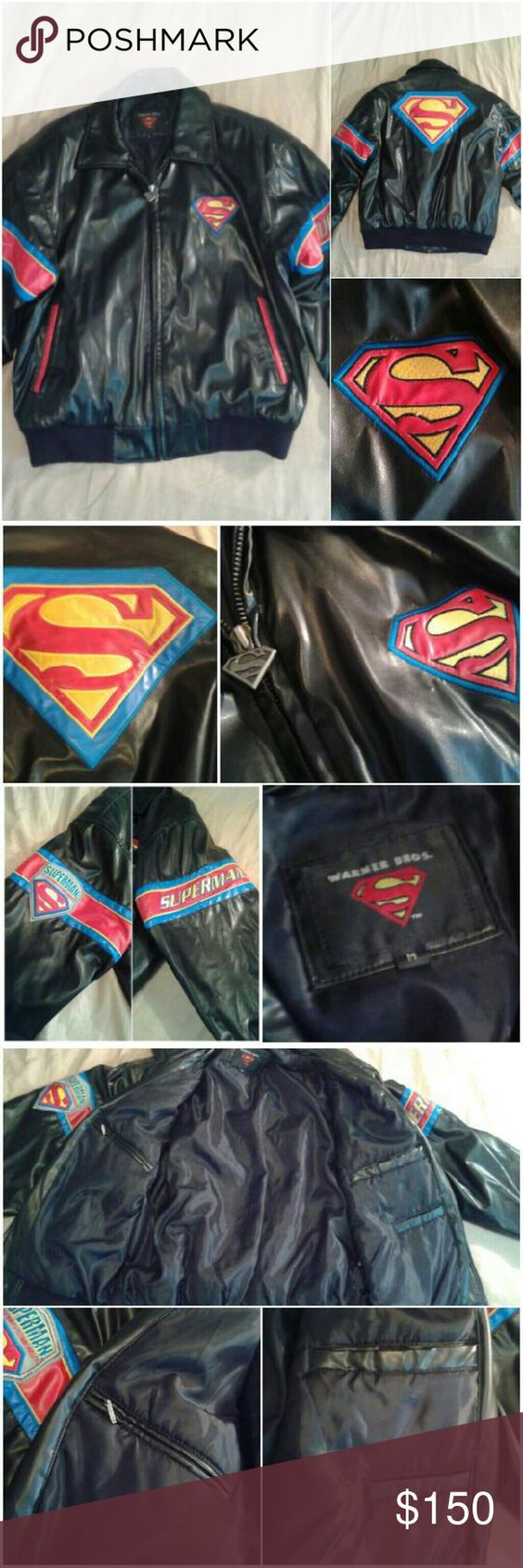 """Warner Bros. Superman Bomber Jacket This authentic Warner Brothers (marked Lazy Oaf for style) bomber jacket will have you feeling like the Man of Steel! Not only is it super cool looking with amazing Superman-themed details all over, it is quite heavy and warm enough for winter too. Minor points of damage all pictured: small peeling by one pocket, a taped-up rip on one sleeve, and tiny discoloration marks on one shoulder. 100% polyester. Measures 24"""" armpit to armpit, 25.5"""" shoulder to hem…"""