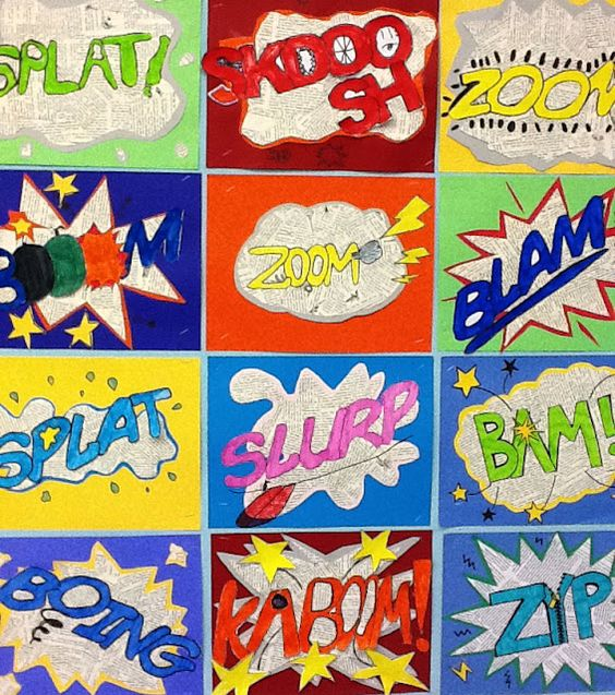 Onomatopoeia Art: We started by talking about what onomatopoeia are, then we spend some time looking at some comic books, and some artwork by Litchenstein, Next, I showed the class a short video from the original Batman movie, and had them call out the onomatopoeias that flashed on the screen.: