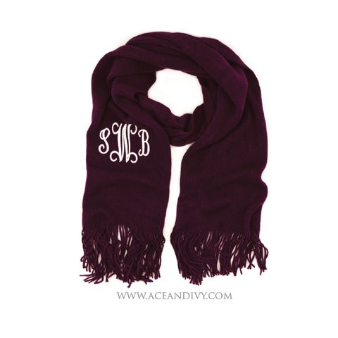 Monogrammed Soft Knit Scarf - Eggplant – Ace & Ivy