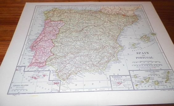 1910 Vintage Antique Map Spain & Portugal Dodd Mead & Co. Inc. Railways