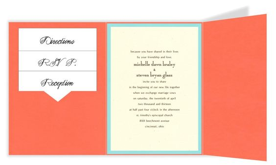 5 x 7 Gate Folio Pocket Wedding Invitations  - 2 Layers Small Border by MyGatsby.com