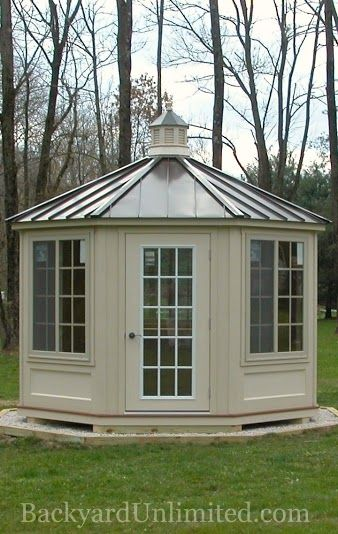 Best 12 Ivory Vinyl Octagon Cabana With Cupola And Standing 400 x 300