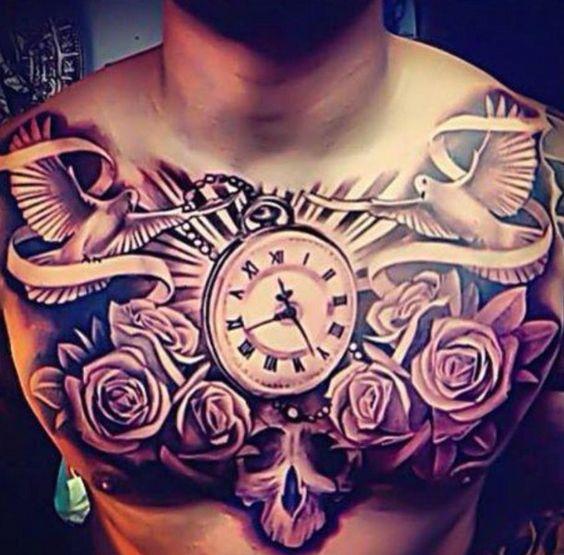Tattoo Tauben Uhr und Rosen Brust