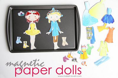 Contain the mess of magnetic doll parts using a metal pan. Smart!