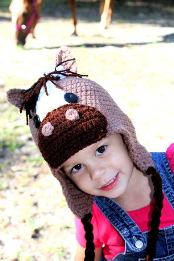 Crochet Horse Hat by NeedleLittleLoveShop on Etsy, $35.00