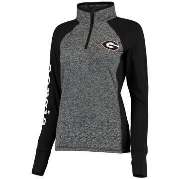 Georgia Bulldogs Women's Finalist Quarter-Zip Pullover Jacket - Gray/Black