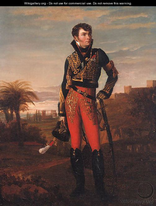 Georges Rouget - Portrait of a French hussar of the Napoleonic era standing in an Egyptian landscape