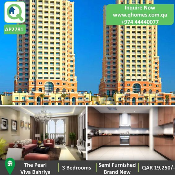 Apartment for Rent in Pearl - BRAND NEW Semi Furnished 3 Bedrooms Apartment in NEW TOWER in Viva Bahriya at QAR 19,250/-