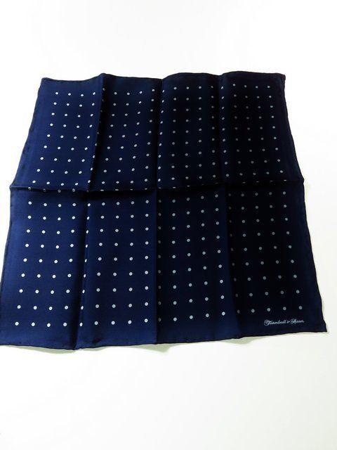 Turnbull & Asser silk pocket square navy white polka dot - Tweedmans Vintage