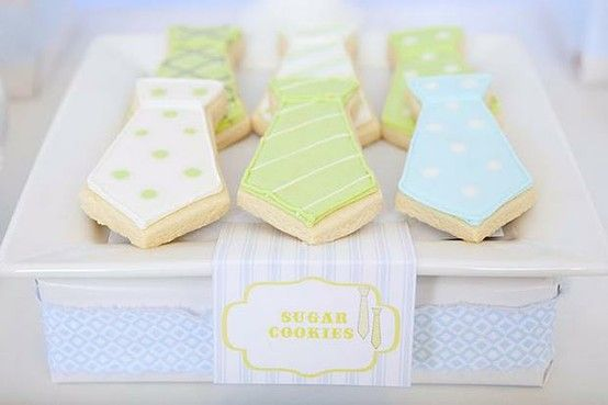 Tie cookies for a baby boy. (Pictures in this slideshow are ALL overexposed, shesh). - Click image to find more Weddings Pinterest pins