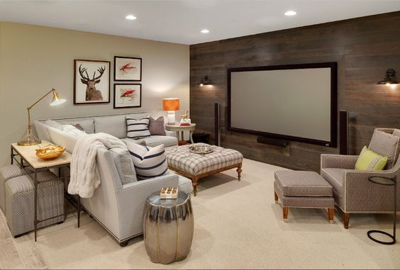 Love thus basement look! Great wood treatment on tv wall.
