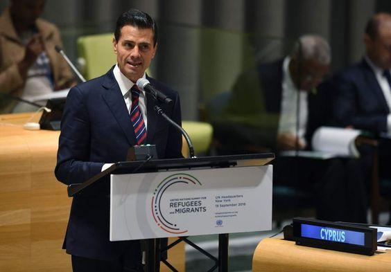 """Peña Nieto intercede en la ONU por refugiados de Honduras, Guatemala y El Salvador El Presidente de México destaca en ONU la """"grave"""" situación de refugiados de Centroamérica El mandatario mexicano durante su intervención en la cumbre sobre refugiados en la ONU."""