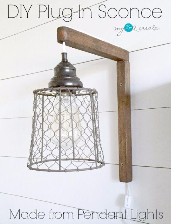 Farmhouse Style Wall Sconces : DIY Farmhouse Style Decor Ideas DIY Plug In Sconce From Pendant Lights? Home Decor Ideas