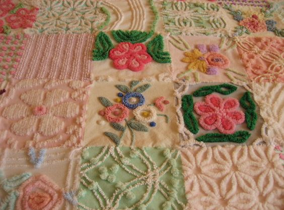 Mothers Day Custom Quilt Throw  Vintage Chenille
