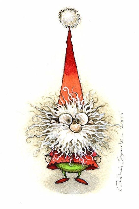 ©zoundsister: Christmas Gnomes, Christmas Time, Christmas Night, Christmas Frazzle, Santas Elf Drawing, Christmas Card, Christmas Gnome Illustration, Christmas Themes
