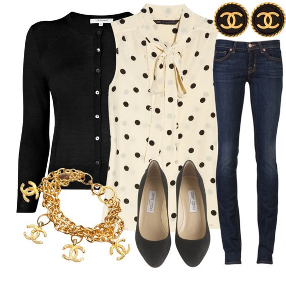 : Casual Friday, Polka Dots, Skinny Jeans, Dream Closet, Cute Outfits, Black Cardigan, Chanel Style, Polka Dot Top, Fall Winter