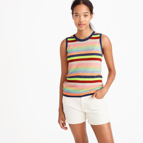 Collection featherweight cashmere shell in candy stripe : Cashmere | J.Crew