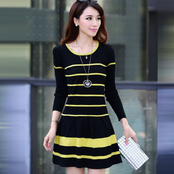 Free Shipping Elegant O-neck Striped Wool Cotton Full Length A-line Short Mini Women Fall Render Dress Lady One-piece Dress $23.90