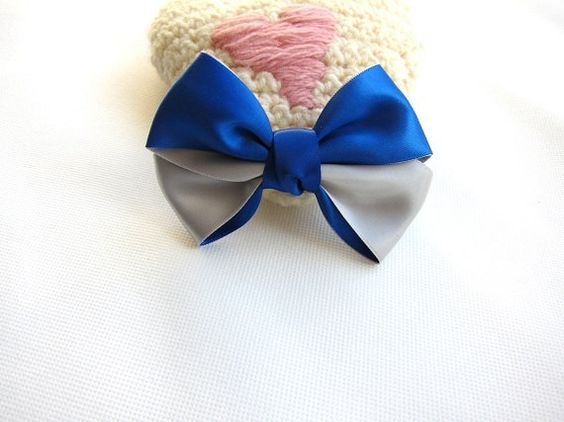 Or this one...   Big Classic Royal Blue and Silver Hair Bow Clip - 4.3 inches/11cm - made with 1.5 inches/3.8cm Satin Ribbon. $3.50, via Etsy.