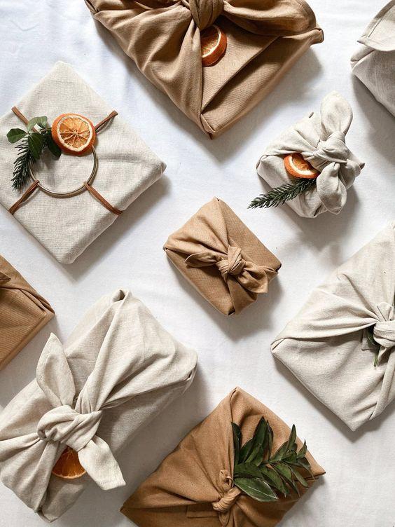 FUROSHIKI linen and coton / scandinavian minimalist christmas | Etsy