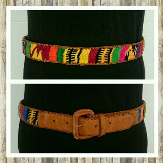 "Colorful Leather Belt Sz 34 Colorful Leather Belt Sz 34 M. Holes on leather go from 31 to 35 1/5"". These are frequently made in Guatemala but this belt does not specify country of origin. Excellent condition. Sorry no trades. Imported Accessories Belts"