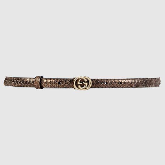Gucci Women - Gucci Bronze Python skinny belt - $430.00
